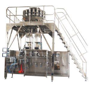 Horizontálne vopred pripravený baliaci stroj s viaccestnými váhy pre granuly